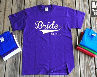 Bride EST 2015 T-Shirt Gift For Fiance New Wife Since 2015 Anniversary Gift Tee