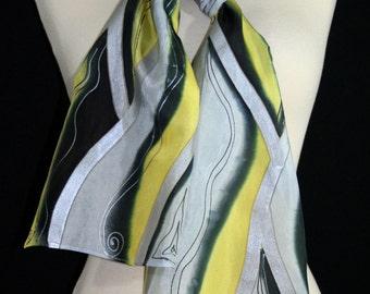 Yellow Silk Scarf. Black Grey Hand Painted Silk Shawl. Handmade Silk Scarf Scarf WINTER MORNING. Size 8x54. Birthday Size, Bridesmaid Gift