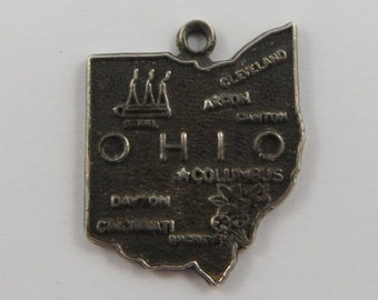 Map of Ohio State Sterling Silver Vintage Charm For Bracelet