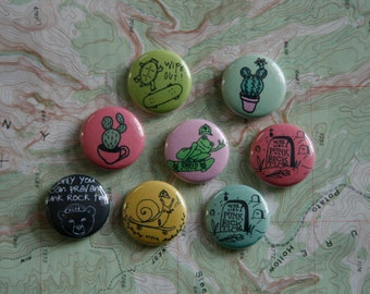 hand drawn 1 inch buttons / punk rock time / skateboarding / cactus / wearable art