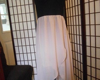 Women's Dress -Straps with a Black top and Flesh Chiffon Skirt