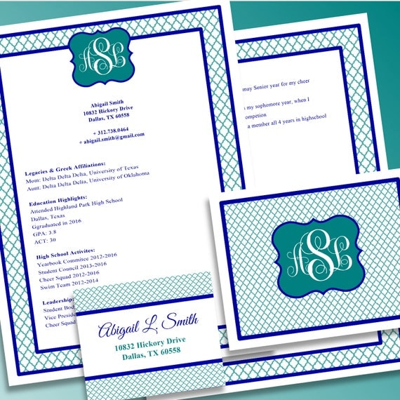 digital printable sorority recruitment packet by
