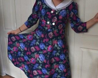 1980s collared dress