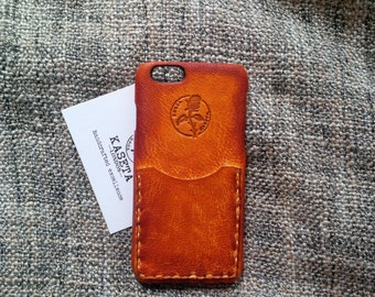 iPhone 6 6s, iPhone 7 leather case with card slot, iPhone 6s wallet 'Old Tan'