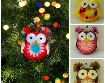 Crochet Owl Ornament Christmas Tree Decoration Woodland Hooter  Handcrafted Amigurumi Bird Colorful Holiday Ornament You Pick Color