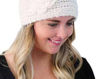 Ear Warmer Headband in White, Winter Headband, Knit Headband, Crochet Headband, Knitted Headwrap Headwear by Simply Martha