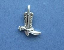 10 Cowboy Boot Charms - Cowboy Boot Pendants - Boot Charm - Boots -  Cowboy Charm - Boot with a Spur- Antique Silver -17mm x 13mm-(P3-10465)