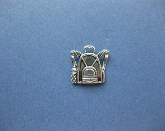 10  Backpack Charms - Backpack Pendants - School Charms - Backpack - Antique Silver - 16mm x 16mm -- (L1-10647)