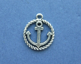 10 Anchor Charms - Anchor Pendants - Anchors - Nautical Charm - Antique Silver - 18mm x 16mm -- (No.2-10721)