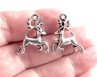 10 Reindeer Charms Double Sided 3D Silver Tone Animal Pendants Christmas Charm 22mm x 20mm Zinc Alloy CS-0564