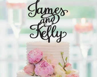Wedding Cake Topper, With The Bride and Grooms First Names, Personalized Cake Topper, Custom Cake Topper, Anniversary Cake Topper, 031