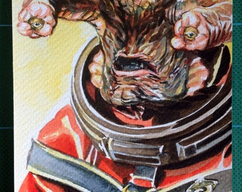 Doctor Who. Original watercolour painting of the Teller from the story Time Heist in the TV series Doctor Who.