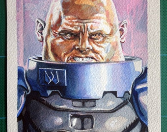 Doctor Who. Original watercolour painting of Strax the Sontaran in the TV series Doctor Who.