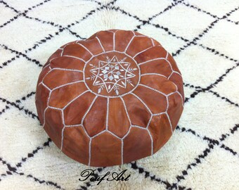Moroccan pouf,pouffes,Leather Handmade Moroccan Pouf, Ottoman Cover,Hassock,Pouffe,Pouffes