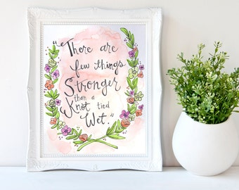 Custom Quote Watercolor Painting with Floral Garland, Mother's Day Quote Gift, Anniversary Gift, House Warming Gift