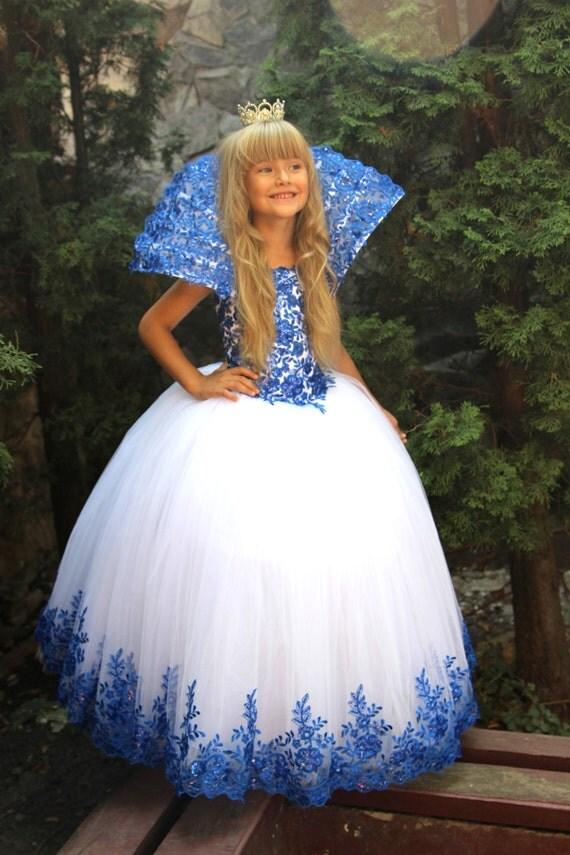 white blue flower girls dress birthday wedding party