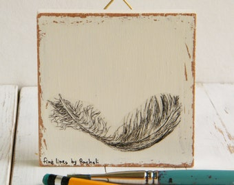 Miniature Painting, Feather Print On Wood, Black And White Wall Art Print, Wood Signs, Nature Art, Spiritual Art, Wood Wall Sign