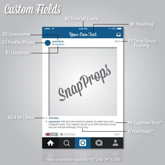 personalizada estilo instagram prop marco digital por snapprops. Black Bedroom Furniture Sets. Home Design Ideas