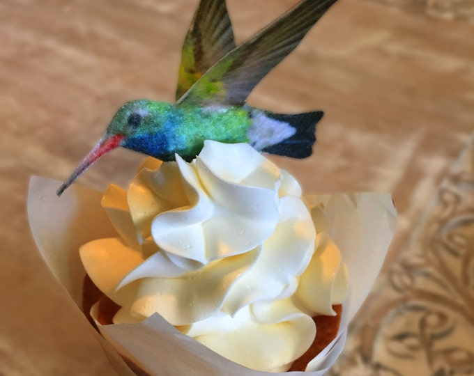 Edible Cake Decorations - Hummingbirds, 3-D Triple Sided Wafer Paper Toppers for Cakes, Cupcakes or Cookies - Set of 4