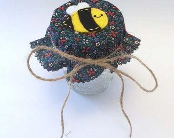 Honey Bee Jam / Jelly Mason Jar Lid Cover / Topper - fabric, felt, applique, embroidered, canning, jar cover, lid topper