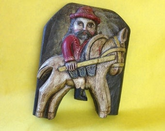 Unique Vintage Wooden Horseman Soldier Chapman Spain Handmade Wall Hanging