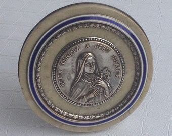 Religious Object Catholic Holy Water Font Antique Earthenware Antique Stoup Antique Earthen Earthenware Stoup French Stoup St Theresa Icon