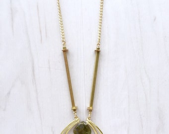 Faceted Labradorite & Tiered Hammered Brass Arch Necklace