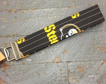 Handmade Fabric Cloth Key Chain Fob Lanyard Holder NFL Football Pittsburgh Steelers