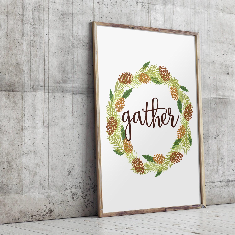 Gather printable wall art home decor thanksgiving decor