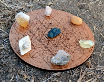Sacred Geometry Natural Cherry Hardwood Crystal Grid - Sacred Geometry Trifecta - Laser Cut Wood Merkaba Star Tetrahedron LT40001