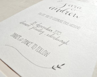 Simple and elegant hand-drawn wedding invitations, hand drawn, typography