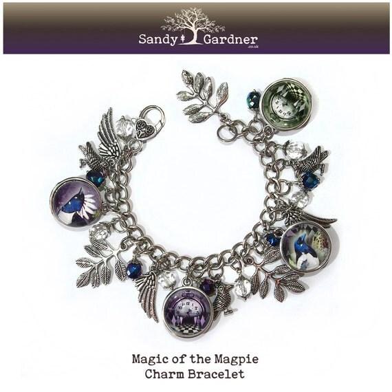 magic of the magpie charm bracelet by sandygardnerartist