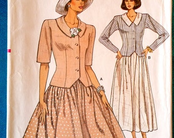 """Vintage 1987 skirt and top jacket sewing pattern - Vogue 9938 - sizes 14-16-18 (36""""-38""""-40"""" bust) - 1980s"""