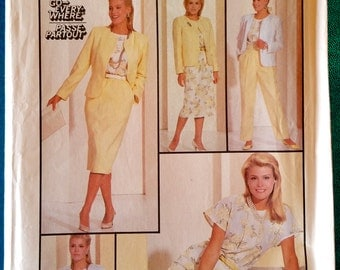 "Vintage 1980's blouse jacket pants trousers & skirt sewing pattern - Simplicity 7880 - size 12 (34"" bust) - 1986"