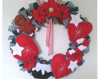 Christmas wreath - christmas rag wreath - gingerbread, candy and hearts wreath