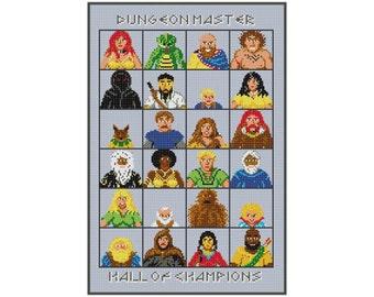 Dungeon Master Video Game - Champion Portraits - Cross Stitch PDF Pattern Instant Download