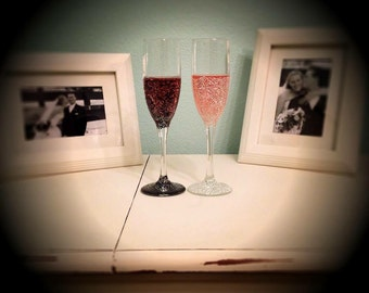 Custom Hand Painted Champagne Flutes (set of 2)