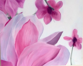 Original Magnolia Oil Painting on Canvas - Hand Painted - Ready to Hang