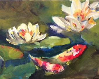Koi and Water Lilies print
