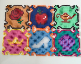 Disney Princess Perler Bead Coasters (Set of 6)