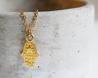 Delicate Yellow Gold Plated Hand of Fatima Pendant Necklace with Fine Gold Filled Chain