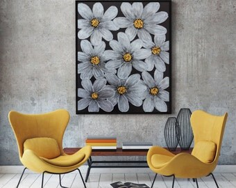 "Flower painting, Acrylic Abstract Floral art, Textured impasto painting, Modern wall art, Abstract art, Palette knife Painting 40""x 30""."