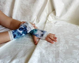 White-gray-blue short lolita floral rose armwarmers fingerless gloves