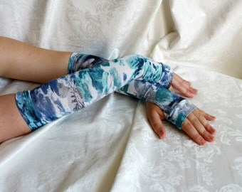 Long white-gray-blue floral rose pattern armwarmers fingerless gloves