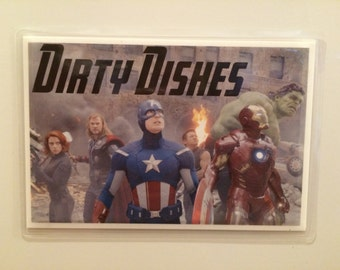 """Avengers Reversible Magnetic Dishwasher Sign 