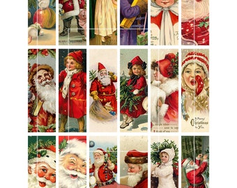 "Christmas Clip Art, Vintage Santas, Vintage Christmas, Digital Collage Sheet, 1""x3"" Crafts, Digital Downloads, microscope clip art"