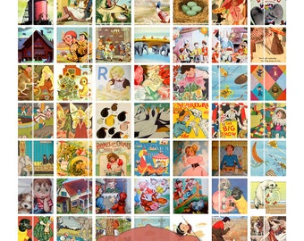 Vintage Children's Books, Digital Collage Sheet, 1 inch squares, inchies, Digital Downloads, vintage kids, illustrations