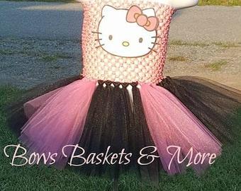 Hello Kitty Tutu Costume, Tutu Dress, Halloween costume, Birthday outfit, Hello Kitty First Birthday tutu