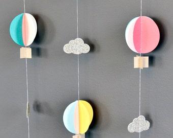 SINGLE Strand Hot Air Balloon Garland, Up Up and Away, Sherbet, Birthday Party Decor, Nursery Decor, Photo prop, Shower Decor