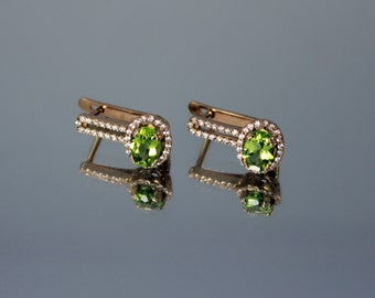Peridot Earrings, Gemstone earrings, Green stone earrings, Solid gold earrings, 14k gold earrings, Gold peridot earrings